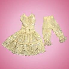 Lovely Vintage Yellow Doll Dress Pantaloons Set