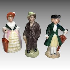 3 German Miniature Dollhouse Doll All Bisque Antique Figurine