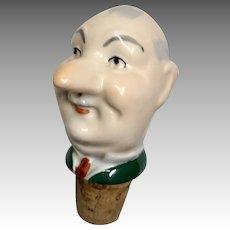Character Man with Mustache Half Doll Style Bottle Cork Pourer Antique German Head