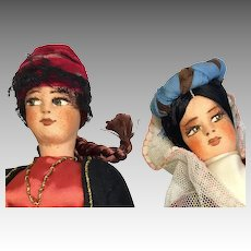 2 Beautiful Vintage Cloth Doll All Original Costumes Googly Side Glancing Eyes