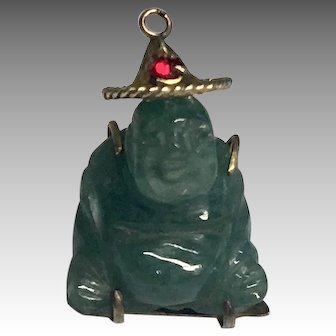 Miniature Buddha Doll Charm 14K Carved Jade Tiny Vintage Dollhouse Figure or Doll Pendant