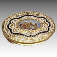 Beautiful Enamel Cherub Gilt Italian Vintage Scenic Powder Compact Ormolu Italy