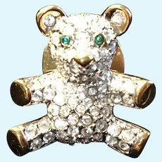 Tiny Swarovski Crystal Teddy Bear Pin for Doll or Bear