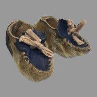 Vintage Doll Inuit Eskimo Leather Seal Skin Moccasins Shoes