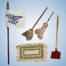 Antique Miniature Dollhouse Doll Accessories Woven Rug Mop Shovel Silk Flag