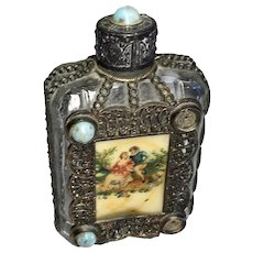 Fun Vintage Perfume Bottle Metal Accents Scene Jewels