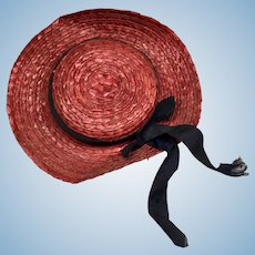 Vintage Red Straw Doll Hat Bonnet