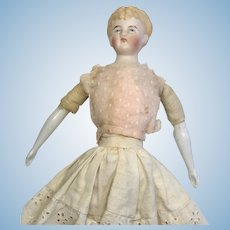 Antique German Bisque Shoulder Head Doll Molded Hair China Arms