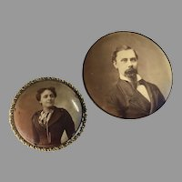 2 Antique Photo Button Round Victorian Fashion Picture Portrait Ornate Frame Doll Display