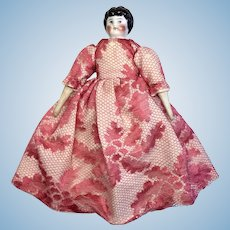 "6"" Antique German China Head Dollhouse Doll Great Dress"