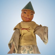 All Wood Jointed Chinese Oriental Doll Original Vintage Clothes Molded Hat