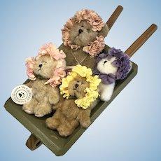 4 Adorable Artist Miniature Bear Flowers in Doll or Bear Size Wood Wheel Barrow