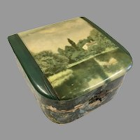 Antique Scenic Celluloid Top Box for Doll Accessories Presentation