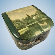Antique Scenic Celluloid Top Box for Doll Accessories
