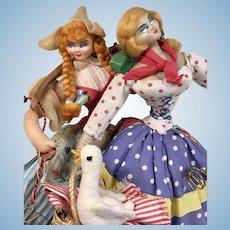 2 Vintage Cloth Doll Pair with Goose Klumpe Roldan  Layna