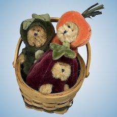 3 Miniature Artist Vegetable Bear in Basket Vintage Boyds