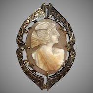 Classic Doll Size Vintage Shell Cameo Collar Pin