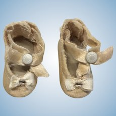 Vintage Doll Shoes Center Snap Bow