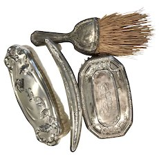 4 Antique Sterling Silver Vanity Clothes Brush