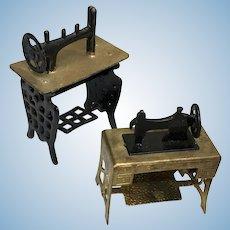 2 Miniature Metal Treadle Sewing Machine