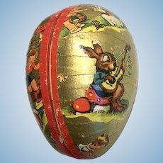 Doll Size German Papier Mache Easter Egg Vintage Candy Container Bunny Rabbit