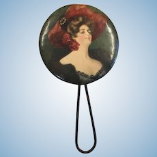 Beautiful Antique Hand Mirror Doll Size Gibson Girl Style Lady FF
