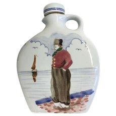 Vintage Gouda Pottery Flask Jug Scenic Goedewaagen
