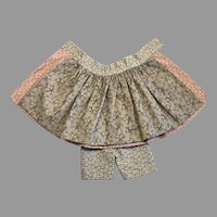 Antique Print Doll Skirt Apron Front Bloomers