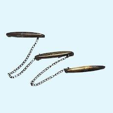 Antique Triple Miniature Metal Bar Collar Pin Doll Size Set