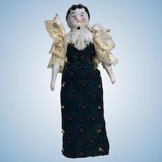 Tiny Antique China Head Dollhouse Doll Flat Feet