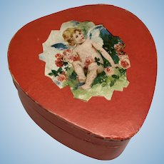 Antique German Candy Container Box To My Valentine Heart Shaped Doll Accessory
