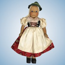 Vintage All Original Wood Doll