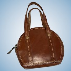 Vintage Leather Doll Purse Satchel Italy