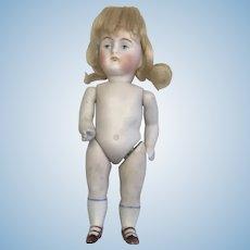 Kestner All Bisque Swivel Neck Antique German Doll Dollhouse Original Wig
