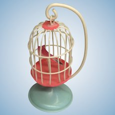 Antique Miniature Dollhouse Doll Celluloid Bird Cage Birdcage Stand