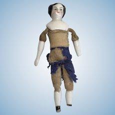 Tiny Miniature Antique China Head German Dollhouse Doll High Brow
