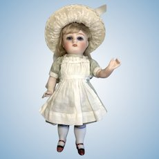 """Large 7"""" German All Bisque Antique Doll Great Outfit Bonnet"""