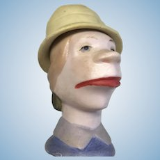 German Bisque Comic Character Doll Head Molded Hat