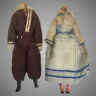 2 Early Jointed All Wood Doll Body Dollhouse Size Couple Original Antique Clothes Wax Hands