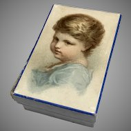 Antique Papered Box Serene Child Litho Picture Doll Items Accessories