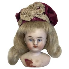 Antique German Bisque Dollhouse Doll Closed Mouth Head Hat Wig