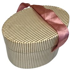 Doll Striped Papered Hat Box Vintage Hatbox