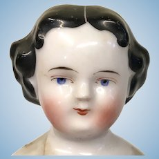 Parted Lips Flat Top High Brow Antique China Head Doll No Heel Feet Kestner