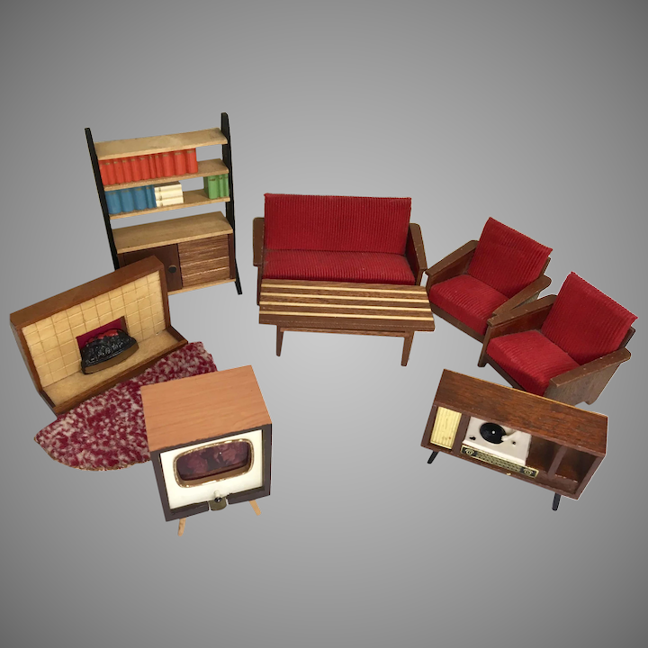 Magnificent 9 Piece Mid Century Modern Dollhouse Doll Vintage Furniture Living Room Bookcase Sofa Fireplace Onthecornerstone Fun Painted Chair Ideas Images Onthecornerstoneorg