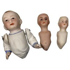 3 German All Bisque Doll Antique Body Parts