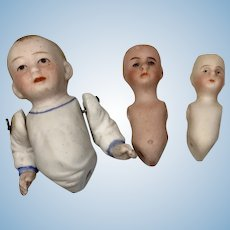 3 Tiny Antique German All Bisque Doll Body Parts