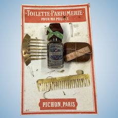 French Poupee Toilette on Card Antique Doll Accessory Paris