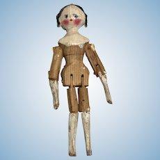 "Sweet 4"" Antique Peg Wood Jointed Grodnertal Doll"