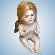 Darling German All Bisque Miniature Antique Dollhouse Bather Doll