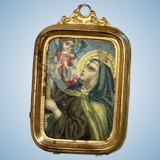 Antique Miniature Ormolu Dollhouse Doll Picture Frame